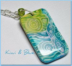 Polymer Clay Kiwi & Blue Pendant | Flickr - Photo Sharing!