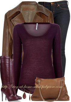 Fall!  I have a brown jacket.. I am sure I have a purple top... now just to find the perfect purple boots!