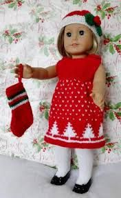 Inspiration for Christmas dress, for AG doll; no pattern but it looks easy to figure out a similar dress