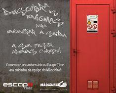 Divulgação da parceria Escape Time e Mãozinha para realização de festas infantis.