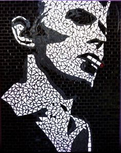 Stencil portrait of David Bowie. Mosaic Designs, David Bowie, Mosaic Glass, Techno, Design Art, Stencils, Furniture Design, Wall Art, Portrait