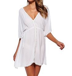 New Arrivals Sexy Beach Cover up Chiffon White Swimwear Ladies Pareo Robe de Plage Swimsuit Saida de Praia Beach Wear Swimsuit Cover Up Dress, Swimwear Cover Ups, Bikini Swimsuit, Bikini Beach, Short Beach Dresses, Beach Wear Dresses, Summer Dresses, Bikini For Women, White Chiffon