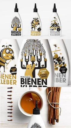 Honey Bond in three great #illustrated squeeze bottle designs. How cute is this #packaging PD