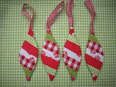 Retro Fabric Christmas Fabric Christmas Ornaments Pendants - picture only, but easy to make some if you have some quilting experience