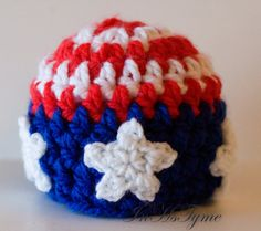 So getting this for Caroline!!!     Crochet American Flag Patriotic Baby Beanie Newborn 03 by InHsTyme, $14.00