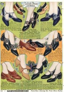 1928 Catalog-  Oxford and Low Heel Mary Jane Walking Shoes  http://www.vintagedancer.com/1920s/history-of-1920s-fashion-shoes/