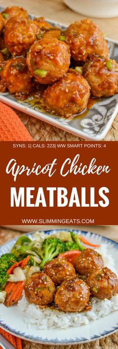 Slimming Eats - Apricot Chicken Meatballs - gluten free, dairy free, Slimming World and Weight Watchers friendly Potluck Recipes, Diet Recipes, Cooking Recipes, Healthy Recipes, Healthy Dinners, Yummy Recipes, Slimming Eats, Slimming World Recipes, Dairy Free Recipes