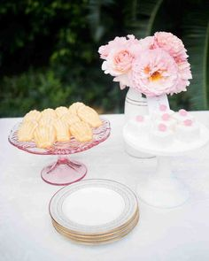 The Essential Elements of a Bridal Shower Dessert Bar | Martha Stewart Weddings - Petite finger foods are all it takes to keep things cute-but-sophisticated. Pastries, cookies, and mini cakes are all perfectly on-theme.