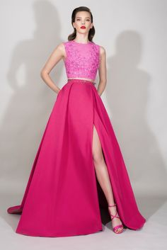 Zuhair Murad | Resort 2016 | 06 Pink sequined sleeveless cropped top and belted maxi skirt with side slit