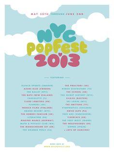 NYC Popfest Lineup Indie Pop, Indie Music, Ballet Nyc, Flowers Uk, The Secret History, Music Festivals, Pop Music, Lineup, Popular Music