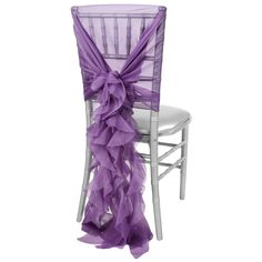 1 Set of Soft Curly Willow Ruffles Chair Sash & Cap - Purple– CV Linens Lavender Wedding Theme, Berry Wedding, Purple Wedding, Wedding Chair Sashes, Wedding Chairs, Plastic Dining Chairs, Party Chairs, Curly Willow, Rainbow Wedding