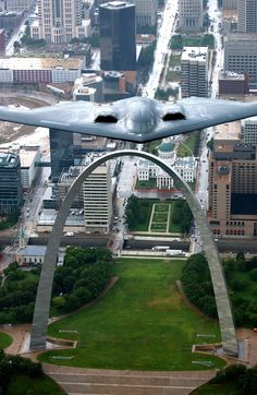 Stealth bomber over the Gateway Arch