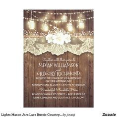 Lights Mason Jars Lace Rustic Country Chic Wedding Card Baby's breath, string lights, fireflies mason jars, vintage lace, barn wood rustic country wedding invitation --- All design elements created by Jinaiji