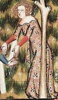 1338-44, French.  From the Romance of Alexander; fol 98r  Red undercotehardie, patterned overcotehardie with tippets (lined with white)