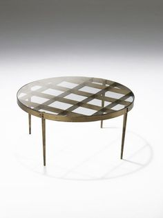 Gio Ponti; Brass and Glass Low Table, 1950s.