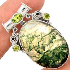 Faceted Moss Agate 925 Sterling Silver Pendant Jewelry MAFP13