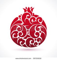 stock-vector-decorative-ornamental-pomegranate-fruit-isolated-on-white-vector-abstract-pomegranate-illustration-397255018.jpg (450×470)
