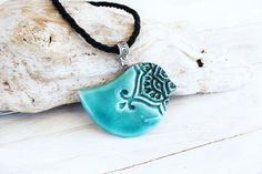 Ceramic bird pendant Aquamarine bird ceramic by SaidartCeramic