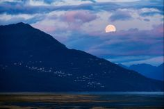 A blue moon - the second full moon in a calendar month - as it rose last night over south Anchorage. Photographer Marc Lester 7/30/15