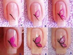 These days, butterfly nail art designs are very popular. So all girls have a look at latest butterfly nail art designs step by step at home. Nail Art Diy, Easy Nail Art, Cool Nail Art, Diy Nails, Cute Nails, Diy Art, How To Nail Art, Nail Art Papillon, Butterfly Nail Art