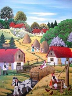 A 35 pieces jigsaw puzzle from Jigidi Acrylic Painting Techniques, Naive Art, Illustrations, Painting Inspiration, Folk Art, Jigsaw Puzzles, Decoration, Arts And Crafts, Landscape