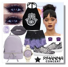 """""""Rihanna Concert"""" by fashion-rebel-chic ❤ liked on Polyvore featuring Evil Twin, NIKE, MICHAEL Michael Kors, Palm Beach Jewelry, Lime Crime, Eos, Rihanna, polyvorecontest and RihannaConcert"""