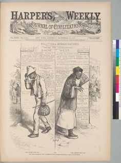 """Not the nation's finest moment. From Harper's Weekly: """"The Mississippi Plan, 'The Nigger Must Go.' The California Plan, 'The Chinese Must Go. Chinese American, African American History, Political Satire, Political Cartoons, Asian History, Black History, Model Minority, Chinese Cartoon, The Sandlot"""