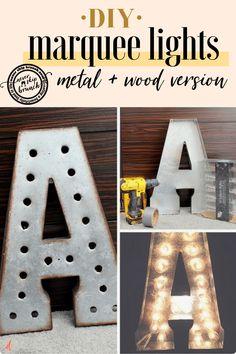 This tutorial has 2 versions for DIY Marquee Letters – Metal or Wood ones! Diy Marquee Letters, Marquee Lights, Light Letters, Wooden Letters, Large Letters, String Lights, Diy Design, Interior Design, Diy Shows