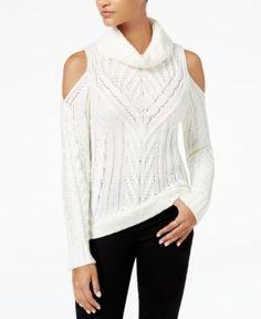 American Rag Juniors' Cold-Shoulder Turtleneck Sweater, Created for Macy's - Tan/Beige XXS