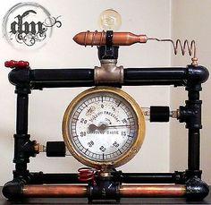 Steampunk Industrial light. Desk Bed Lamp Collectible Vintage Machine Gauge Goth