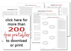 250 Free Printables to Help Your Family Get Organized!    #organizedhome