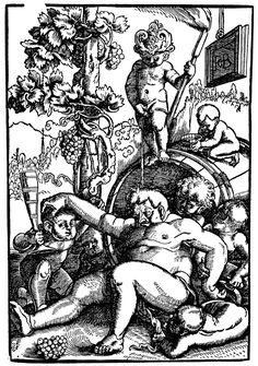Baldung Grien, Hans - Der trunkene Bacchus mit spielenden Putten, um 1520, 22,4 × 15,3 cm, Holzschnitt, Basel, Öffentliche Kunstsammlung