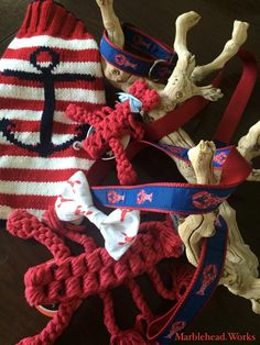 Dogs love lobster, too. Nautical Pet Accessories from Creature Comforts & Pawsitively Marblehead, available online at Marblehead.Works   #Nautical #Dogs #Pets