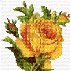 Cross Stitch | Yellow Rose xstitch Chart | Design