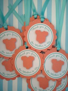 Orange and Teal Baby Shower Favor Tags - Baby Girl - It's a Girl - Coral and Aqua Tags on Etsy, $12.00