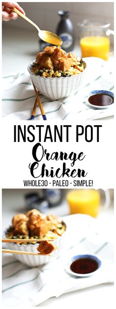 This Instant Pot Orange Chicken comes together in minutes and is the perfect weeknight dinner! This Instant Pot Orange Chicken comes together in minutes and is the perfect weeknight dinner! Paleo Recipes Easy, Real Food Recipes, Cooking Recipes, Primal Recipes, Chicken Recipes, Instant Pot Pressure Cooker, Pressure Cooker Recipes, Pressure Cooking, Slow Cooker