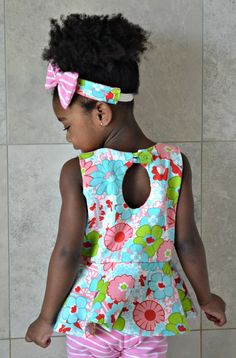 Piper Reversible Peplum Top PDF Sewing by BellaSunshineDesigns Girl Dress Patterns, Sewing Patterns For Kids, Sewing For Kids, Baby Sewing, Sewing Ideas, Sewing Projects, Sewing Kids Clothes, Make Your Own Clothes, Fabric Purses