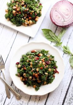 Basil Balsamic Chickpea and Kale Salad | Hummusapien