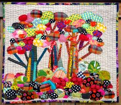 Here& my first fabric collage with stitching. It finished at x I used my free-motion foot and outlined everything. Flannel Quilts, Star Quilts, Mini Quilts, Hand Applique, Applique Quilts, Textiles, Quilting Projects, Sewing Projects, Tree Quilt