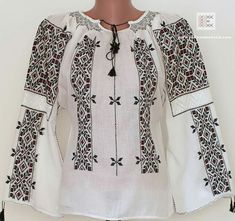 Pin by Relly B on Romanian blouse Folk Costume, Costumes, Baby Vest, Bridal Dresses, Diy And Crafts, Cross Stitch, Tunic Tops, The Incredibles, Embroidery