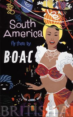 South America Travel Poster Art Print Retro by Blivingstons Vintage Travel Posters, Vintage Ads, Vintage Airline, Vintage Advertisements, Vintage Images, Vintage Designs, Travel Ads, Travel Photos, Air Travel