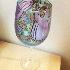 Phi Rho print painted wine glass big little crafts!