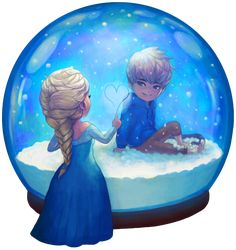 Two Worlds by Ry-Spirit.deviantart.com on @DeviantArt Hey ! Jack Frost ... What Elsa..? Look here... ^^
