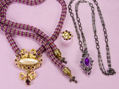 Amethyst Dreams Necklaces and Ring - old brooches and earrings.