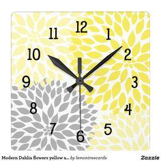 Modern Dahlia flowers yellow and gray grey