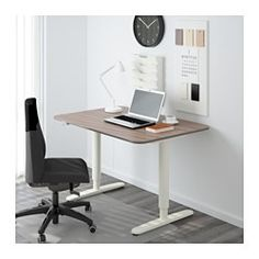 "IKEA - BEKANT, Desk sit/stand, black-brown/black, , You can adjust the height of the table top electrically from 22"" to 48"" to ensure an ergonomic working position.Changing positions between sitting and standing helps you both feel and work better.The veneer surface is durable, stain resistant and easy to keep clean.It's easy to keep your desk neat and tidy with the cable management net under the table top.Deep table top gives a generous work surface and lets you s..."