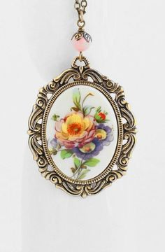Cameo Necklace Cameo Pendant Spring Flowers: