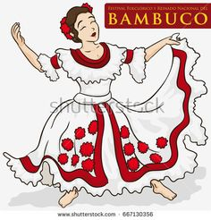 Poster with beautiful woman wearing a traditional dress ready to perform the Bambuco dance in Bambuco Pageant and Folkloric Festival (written in Spanish over the red label). Free Vector Images, Vector Free, Traditional Dresses, Birds In Flight, Aurora Sleeping Beauty, Women Wear, Beautiful Women, Disney Characters, Illustration