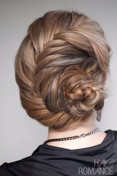 """Fishtail French braid bun up-do. Queen Elsa's coronation hair style from """"Frozen""""."""