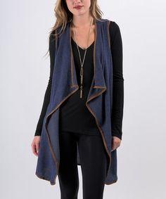 Another great find on #zulily! Denim Blue Drape Open Vest #zulilyfinds